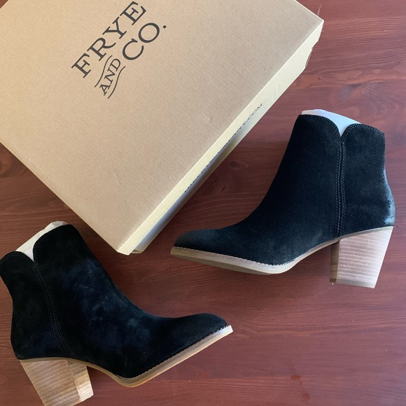 Frye Shoes | Black Suede Ankle Booties